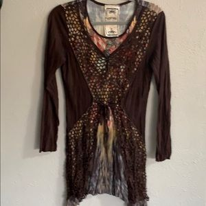 Vintage Brown Dress with Multi Color Underlay